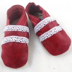 Baby leather slippers red and neon pink coloured clover pattern