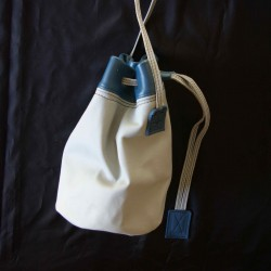 Leather sailor bag, grey and blue coloured
