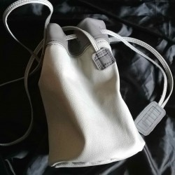 Leather sailor bag, light grey and dark grey coloured