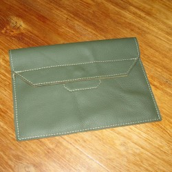Leather tablet cover khaki coloured