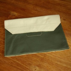Leather tablet cover khaki and cream coloured