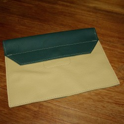 Leather tablet cover green and ivory coloured