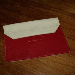 Leather tablet cover cream and red coloured