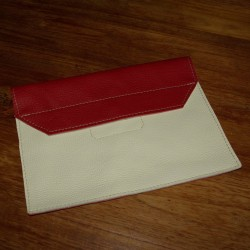 Leather tablet cover red and cream coloured