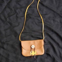 Small leather handbag,gold coloured