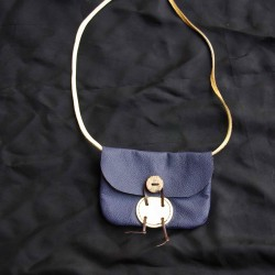 Small leather handbag, blue and yellow coloured