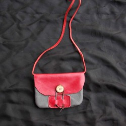 Small leather handbag, grey and red coloured