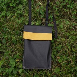 Neck wallet, in black and mustard colored leather