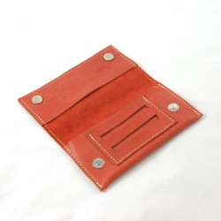 Leather tobacco pouch coral coloured