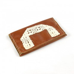 Leather tobacco pouch brown coloured knitted lace