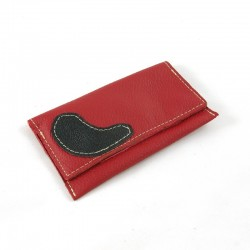 Leather tobacco pouch red pomegranate coloured fashion