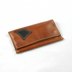 Leather tobacco pouch brown coloured fashion