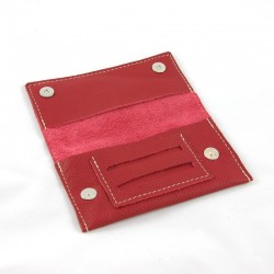 Leather tobacco pouch grenada red pomegranate coloured