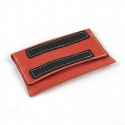 Leather tobacco pouch coral coloured fancy