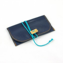 Leather tobacco pouch blue coloured with turquoise lace