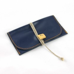 Leather tobacco pouch blue coloured with string lace