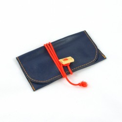 Leather tobacco pouch blue coloured with fluorescent orange lace