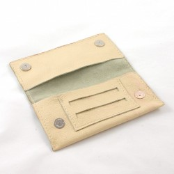 Leather tobacco pouch cream coloured