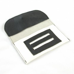 Leather tobacco pouch white and black coloured with black lace