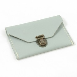 Mini leather coin purse grey coloured, schoolbag style