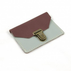 Leather coin purse plum and grey coloured, schoolbag style