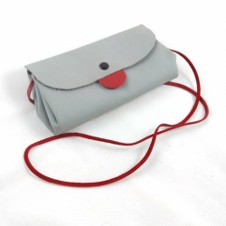 Shoulder clutch bag, in grey and red colored leather