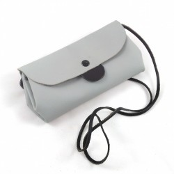 Shoulder clutch bag, in grey and black colored leather