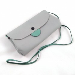 Shoulder clutch bag, in grey and green colored leather