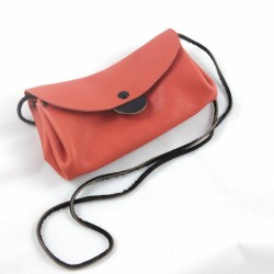 Shoulder clutch bag, in coral-colored and black colored leather
