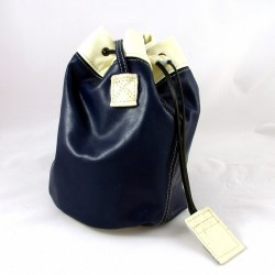 Leather sailor bag, blue and cream coloured