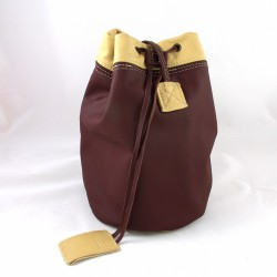 Leather sailor bag, plum and cream coloured