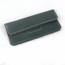Leather glasses case kaki green coloured