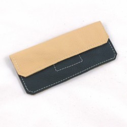 Leather glasses case cream and kaki green coloured