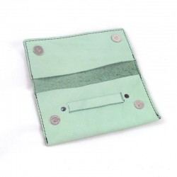 Leather tobacco pouch light green coloured