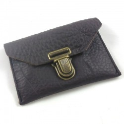 Dark brown leather wallet with black stitching