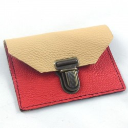 Mini leather coin purse cream and coral coloured, schoolbag style
