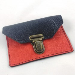 Mini leather coin purse black and coral coloured, schoolbag style