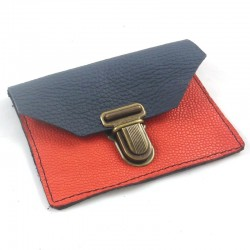 Mini leather coin purse dark blue and coral coloured, schoolbag style