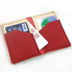 Leather card wallet pomegranate red and cream coloured