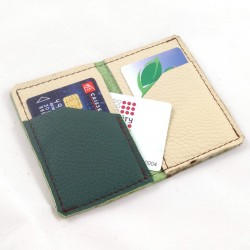 Leather card wallet forest green and cream coloured