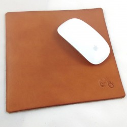 Vegetable tanned leather mouse pad hammered with motorcycle pattern