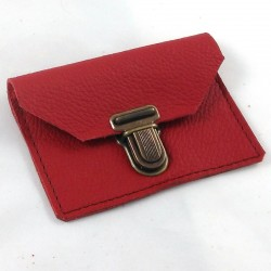 Leather coin purse pomegranate red coloured, schoolbag style,brown sewing