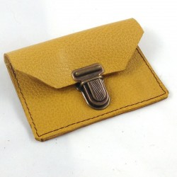 Leather coin purse mustard coloured, schoolbag style, brown sewing