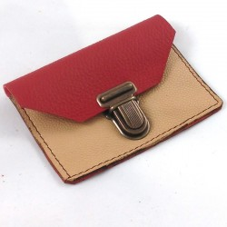 Leather coin purse pomegranate red and cream coloured, schoolbag style