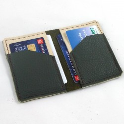 Leather card wallet khaki green and cream coloured